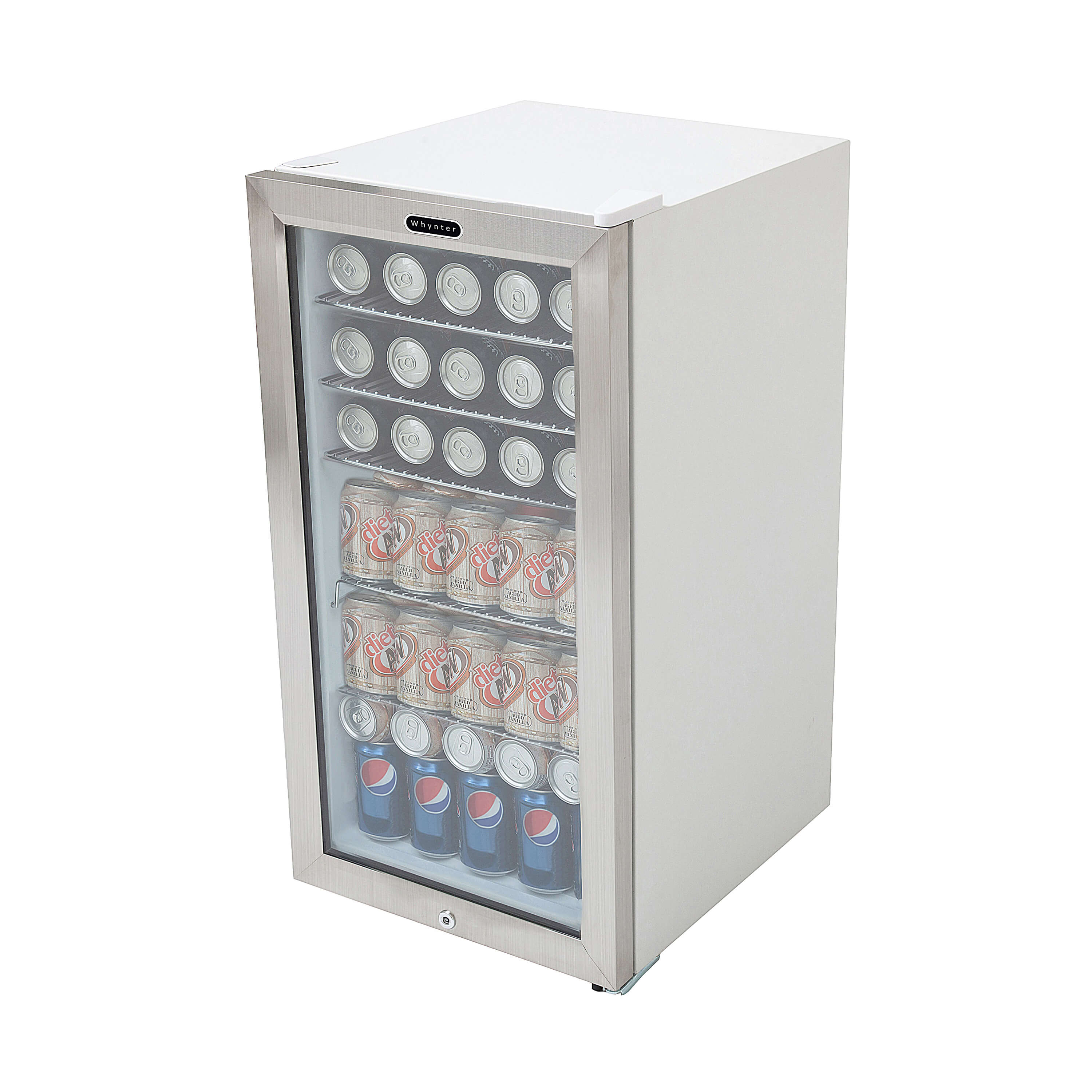 BR-128WS Whynter Beverage Refrigerator With Lock - Stainless ...